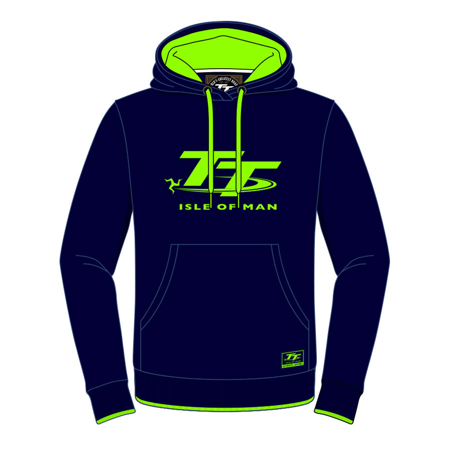 16AH2 - Hoodie Navy Blue with Green TT Logo