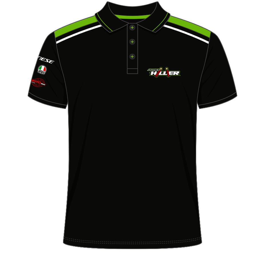 17JH-AP-1 - James Hillier Black and Green Polo Shirt