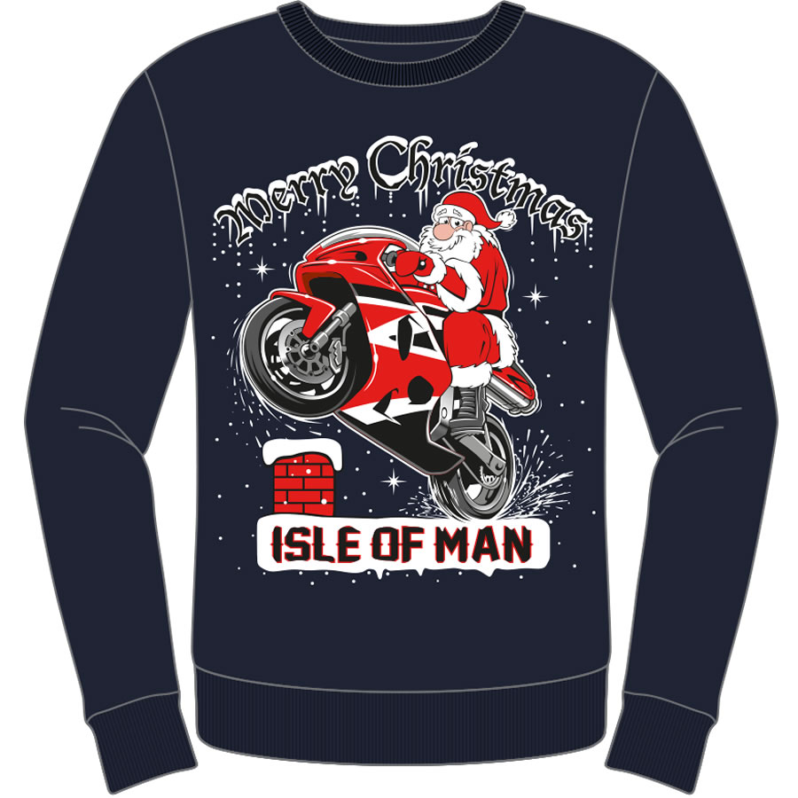 17BikerSanta - Christmas Navy Sweat Shirt