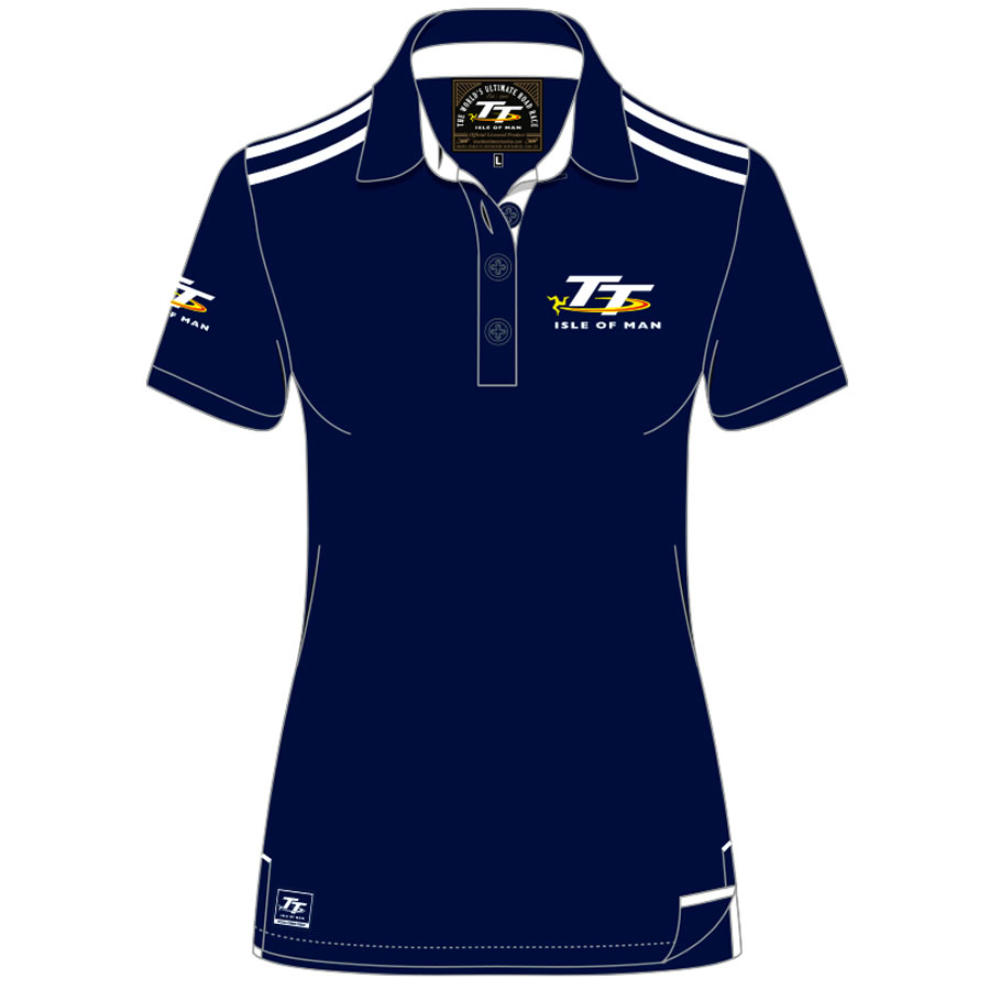 18LP2 - Ladies Navy and White Polo Shirt