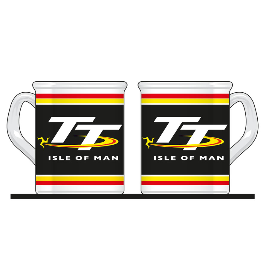 aade5780f1d17 Official Isle of Man TT White and Black Mug featuring the Official ...