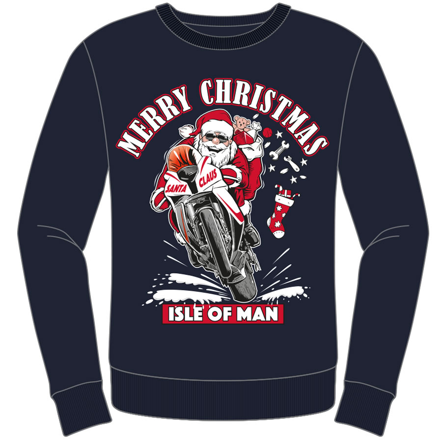 18XMAS1-SS - Navy Christmas Sweat Shirt