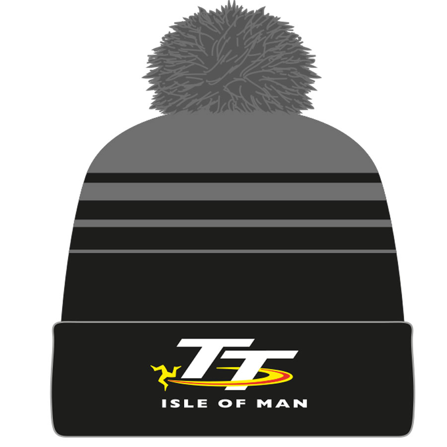 19BOBBLE1 - TT Black and Grey Bobble Hat