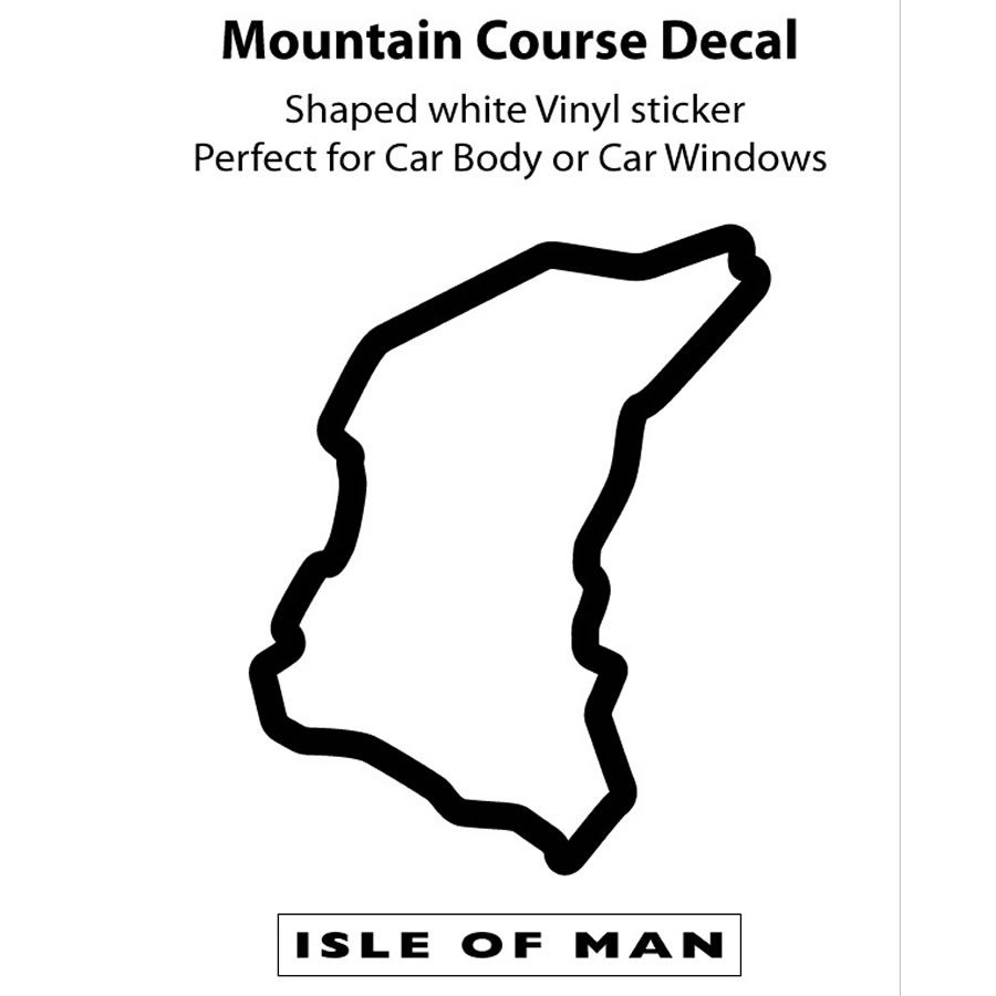 Official Isle of Man TT Course Map Outline Sticker  Black Outline