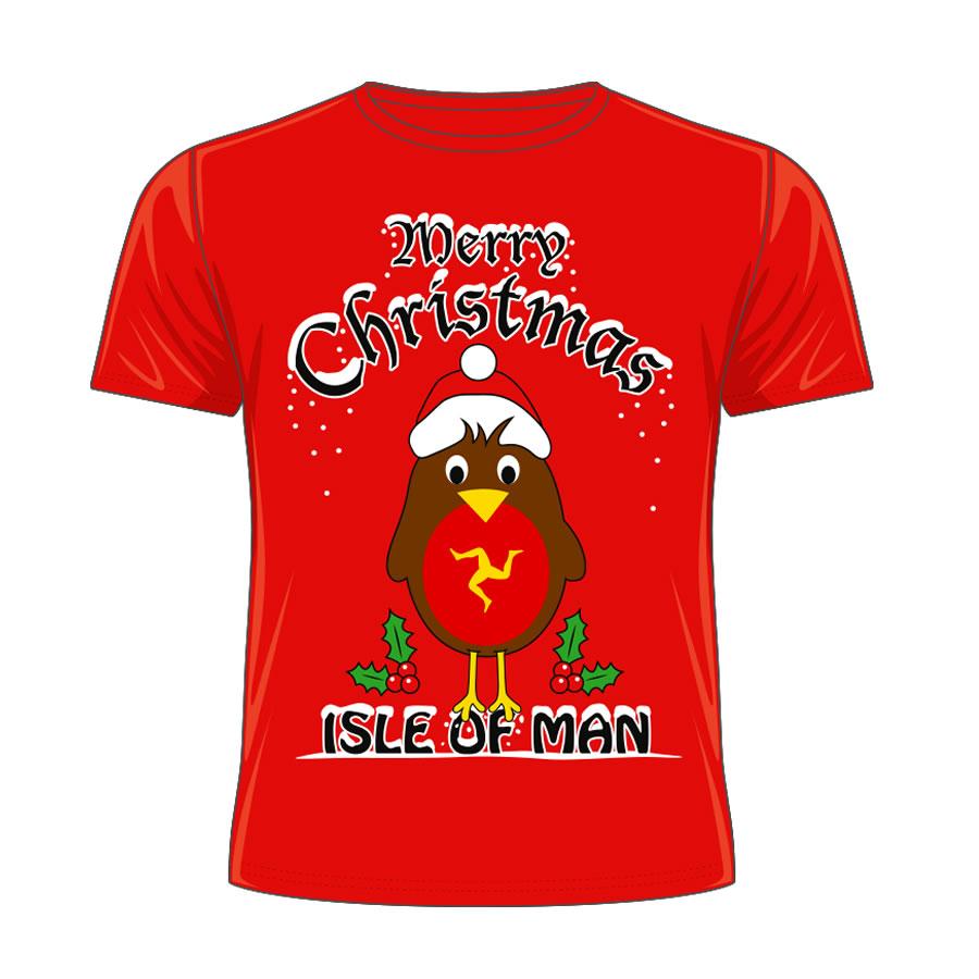 Isle of Man Kids Red Christmas T-Shirt